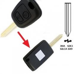Carcasa llave fija 2 botones convertible a plegable para modelos CITRÖEN BERLINGO, XSARA modelo nuevo.