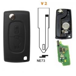 Carcasa llave mando plegable 2 botones CITRÖEN.