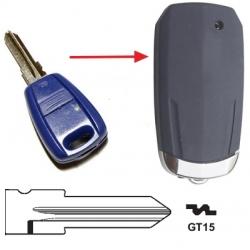 Carcasa para pasar de llave fija a plegable 1 botón FIAT BRAVA, BRAVO, CINQUENCENTO, MAREA, MARENGO, SEICENTO, TEMPRA.