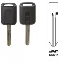 Carcasa llave fija 2 botones NISSAN  ALMERA, MURANO, NAVARA, PATROL.