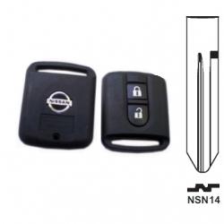 Carcasa llave fija 2 botones NISSAN MICRA, NAVARA, QASHQAI, PRIMERA.