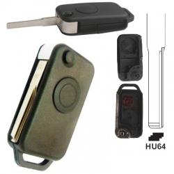 Carcasa llave mando plegable de 1 botón para MERCEDES.Espadín perfil HU64 con 2 track.