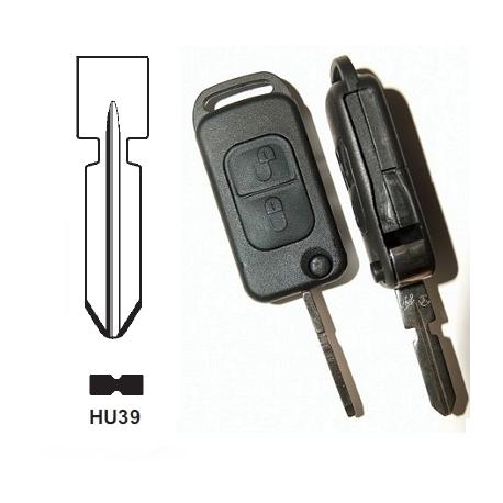 Carcasa llave mando plegable de 2 botones  para MERCEDES.Espadín perfil HU39 con 4 track.