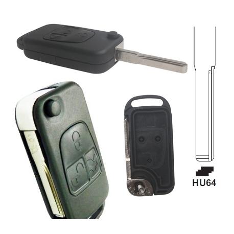 Carcasa llave mando plegable de 3 botones para MERCEDES BENZ.Espadín perfil HU64 con 2 track.