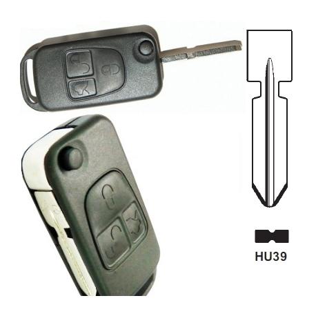Carcasa llave mando plegable de 3 botones para MERCEDES BENZ.Espadín perfil HU39 con 4 track.