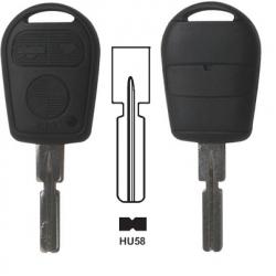 Carcasa llave fija de  3 botones para BMW con espadín perfil HU58.