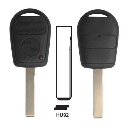 Carcasa llave fija de 3 botones para BMW con espadín perfil  HU92.