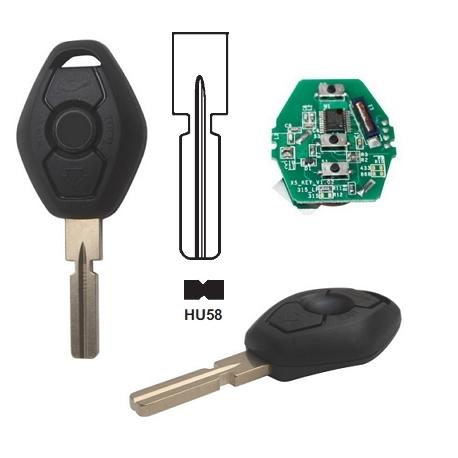 Telemando llave fija de  3 botones para BMW con espadín perfil HU58.Transponder ID44 (PCF7935AS).Frecuencia 433Mhz.