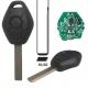Telemando llave fija de 3 botones para BMW con espadín perfil HU92.Transponder ID44 (PCF7935AS).Frecuencia 433MHz.